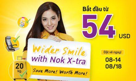08 đến 14/08/2018, Nok Air tung hàng loạt giá ưu đãi với giá chỉ từ 54 USD/ chặng