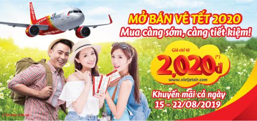 Vietjet air mở bán vé tết 2020 giá chỉ từ 2,020 đồng
